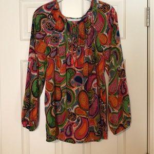 Trina Turk flowy silk blouse.